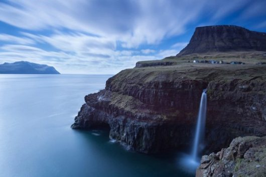 The beautiful waterfall called Gasadalur.