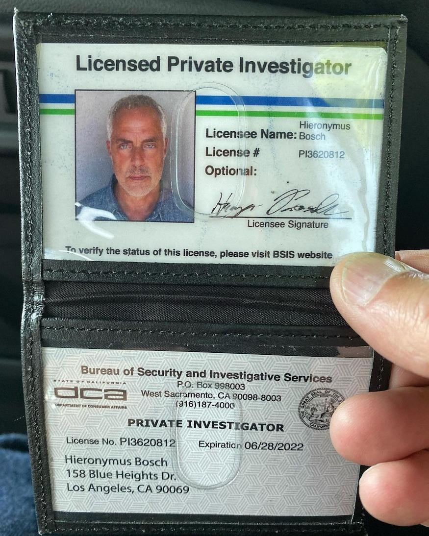 Harry Bosch Licensed Private Investigator badge